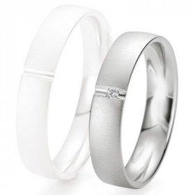 Alliance homme Diamant - Alliance de mariage Breuning - Or gris 4.5mm + diamant - 1377423145G