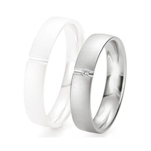 Alliance de mariage Breuning - Or gris 4.5mm + diamant - 1377423145G