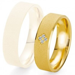 Alliance de mariage Breuning - Or jaune 6.0mm + diamant - 1377423360J