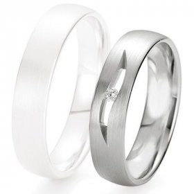 Alliance de mariage Breuning - Or gris 5.0mm + diamant - 1377423550G