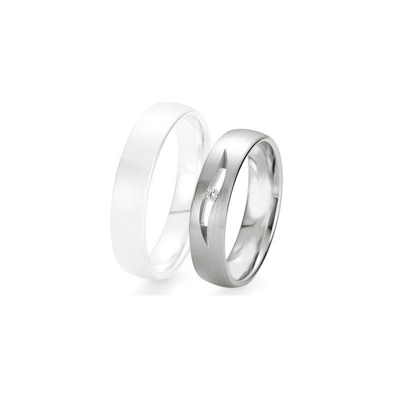 Alliance de mariage Breuning - Or gris 5.0mm + diamant - 1377423550G