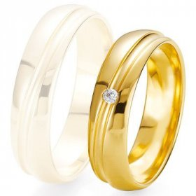 Alliance homme Diamant - Alliance de mariage Breuning - Or jaune 5.5mm + diamant - 1377423755J