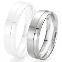Alliance de mariage Breuning - Or gris 5.5mm + diamant - 1377423955G
