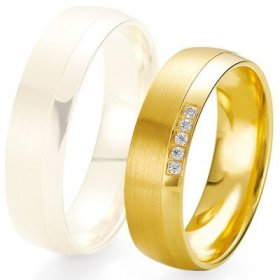 Alliance de mariage Breuning - Or jaune 6.0mm + diamant - 1377424160J