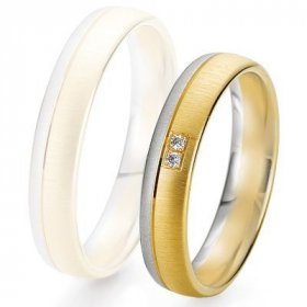 Alliance de mariage Breuning -  2 ors OG/OJ 4.5mm + diamant - 1377424545B