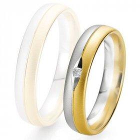 Alliances Breuning - Alliance de mariage Breuning - 2 ors OG/OJ 4.5mm + diamant - 1377424745B