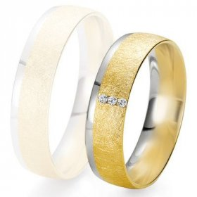 Alliance de mariage Breuning - 2 ors OG/OJ 5.5mm + diamant - 1377424955B