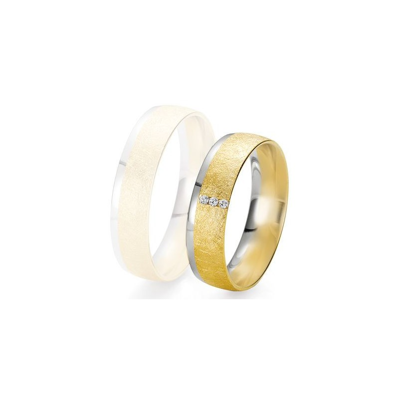 Alliance de mariage Breuning - 2 ors OG/OJ 5.5mm + diamant - 1377424955B
