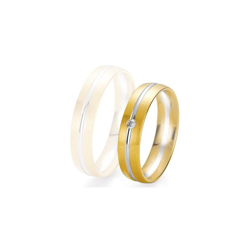 Alliance de mariage Breuning - 2 ors OG/OJ 5.0mm + diamant - 1377425150B