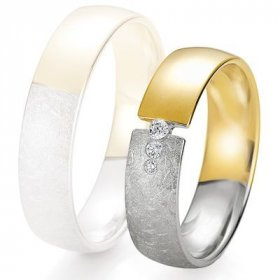 Alliance de mariage Breuning - 2 ors OG/OJ 5.5mm + diamant - 1377425355B