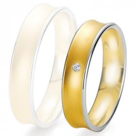 Alliance Diamant homme - Alliance de mariage Breuning - 2 ors OG/OJ 5.0mm + diamant - 1377425550B