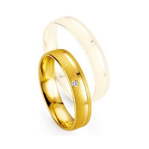 Alliance de mariage Breuning - Or jaune 4.5mm + diamant - 1377400345G