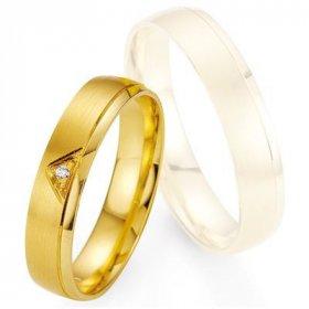 Alliance de mariage Breuning - Or jaune 4.5mm + diamant - 1377400545G