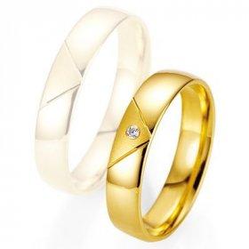 Alliance de mariage Breuning - Or jaune 4.5mm + diamant - 1377400745G