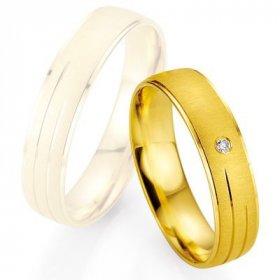 Alliance de mariage Breuning - Or jaune 5.0mm + diamant - 1377401150G