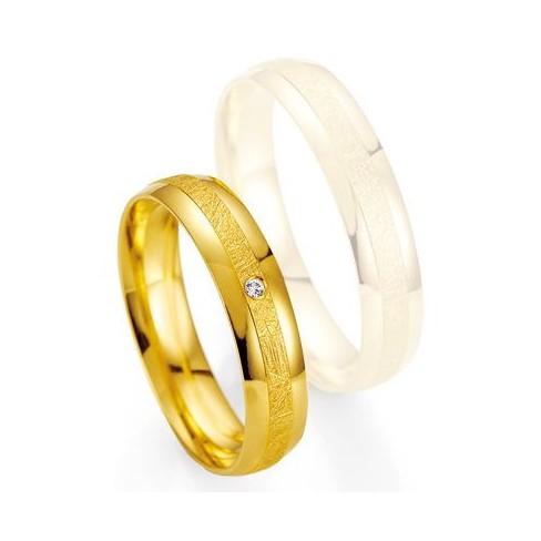 Alliance de mariage Breuning - Or jaune 4.5mm + diamant - 1377401345G