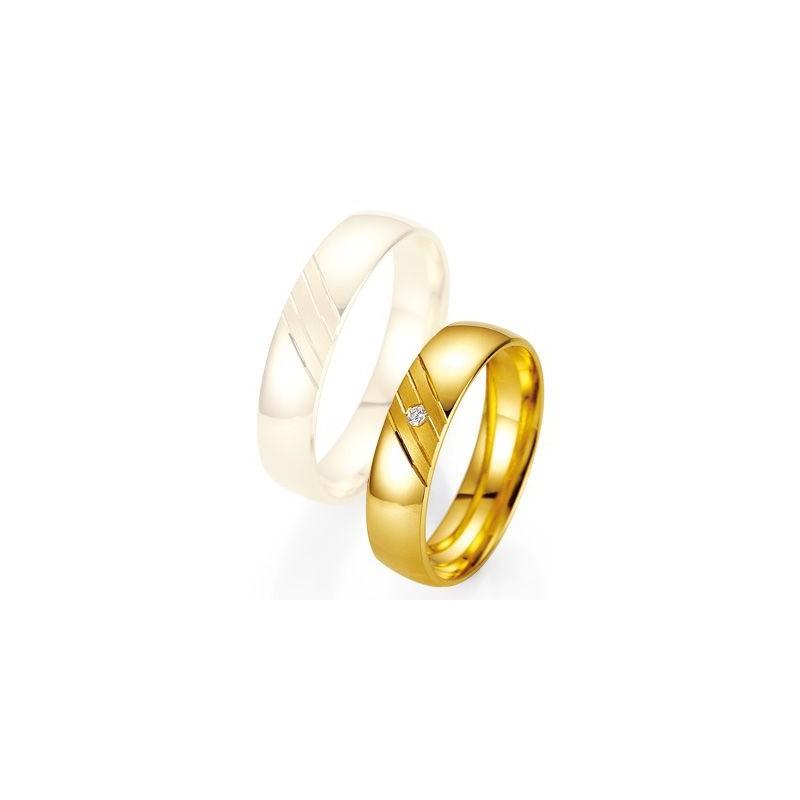 Alliance de mariage Breuning - Or jaune 5.0mm + diamant - 1377401550G
