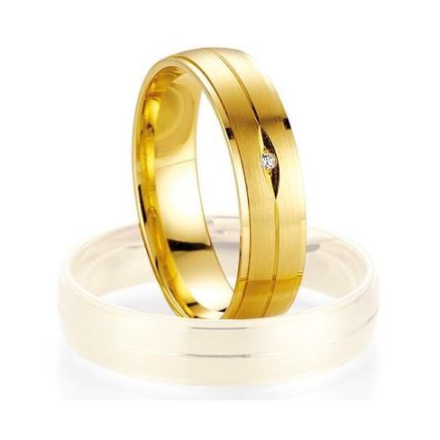Alliance de mariage Breuning - Or jaune 5.0mm + diamant - 1377401750G