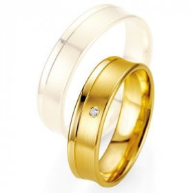 Alliances à moins de 600€ - Alliance de mariage Breuning - Or jaune 5.5mm + diamant - 1377402755G