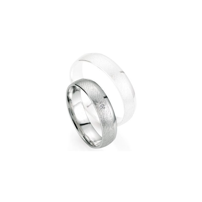 Alliance de mariage Breuning - Or gris 5.0mm + diamant - 1377402950G