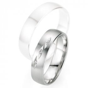 Alliances à moins de 600€ - Alliance de mariage Breuning - Or gris 5.0mm + diamant - 1377403150G