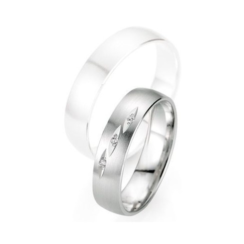 Alliance de mariage Breuning - Or gris 5.0mm + diamant - 1377403150G