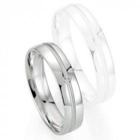 Alliance de mariage Breuning - Or gris 4.5mm + diamant - 1377403745G