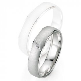 Alliance homme Diamant - Alliance de mariage Breuning - Or gris 5.0mm + diamant - 1377402550G
