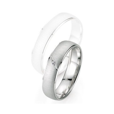 Alliance de mariage Breuning - Or gris 5.0mm + diamant - 1377402550G