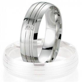 Alliance de mariage Breuning - Or gris 5.5mm + diamant - 1377404355G
