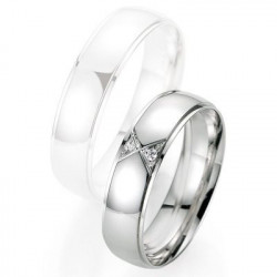 Alliance de mariage Breuning - Or gris 5.5mm + diamant - 1377404555G