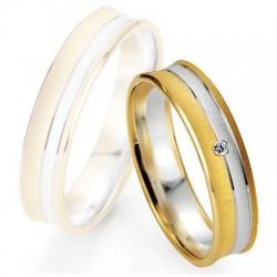 Alliance de mariage Breuning - Or gris/or rose 5.0mm + diamant1377404950B