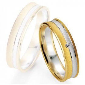 Alliances à moins de 600€ - Alliance de mariage Breuning - Or gris/or rose 5.0mm + diamant1377404950B