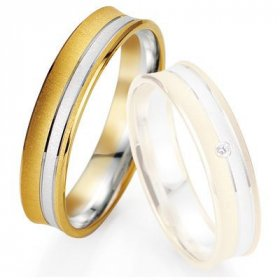 Alliance de mariage Breuning - Or gris/or jaune 5.0mm - 1303405050B