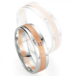 Alliance de mariage Breuning - Or gris/or rose 5.5mm + diamant - 1377405355B