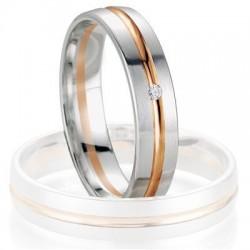 Alliance de mariage Breuning - Or gris/or rose 4.5mm + diamant - 1377405545B