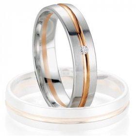 Alliance femme - Alliance de mariage Breuning - Or gris/or rose 4.5mm + diamant - 1377405545B