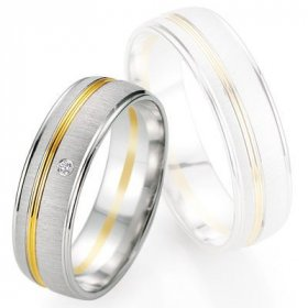 Alliance de mariage Breuning - Or gris/or jaune 6.0mm + diamant - 1377405760B