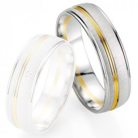Alliances Breuning - Alliance de mariage Breuning - Or gris/or jaune 6.0mm - 1303405860B