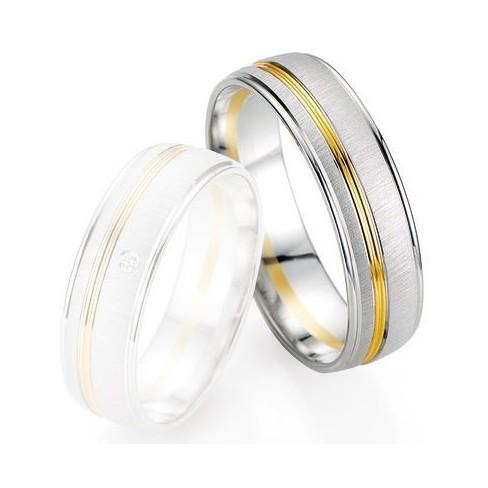Alliance de mariage Breuning - Or gris/or jaune 6.0mm - 1303405860B