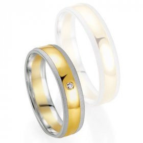 Alliances à moins de 600€ - Alliance de mariage Breuning - Or gris/or jaune 5.0mm + diamant - 1377405950B