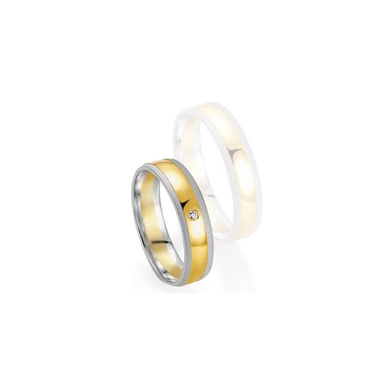 Alliance de mariage Breuning - Or gris/or jaune 5.0mm + diamant - 1377405950B