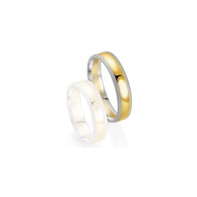 Alliance de mariage Breuning - Or gris/or jaune 5.0mm - 1303406050B