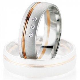 Alliance Diamant - Alliance de mariage Breuning - Or gris/or rose 6.0mm + diamant - 1377406160B