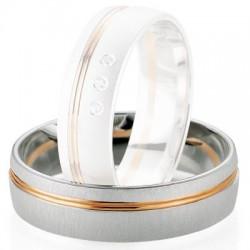 Alliance de mariage Breuning - Or gris/or rose 6.0mm - 1303406260B