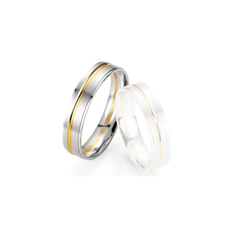 Alliance de mariage Breuning - Or gris/or jaune 5.0mm - 1303406850B