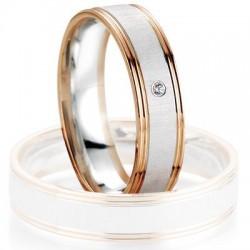 Alliance de mariage Breuning - Or gris/or rose 5.0mm + diamant - 1377407150B
