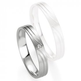 Alliance Diamant homme - Alliance de mariage Breuning - Or gris 3.5mm diamant - 1377407935G