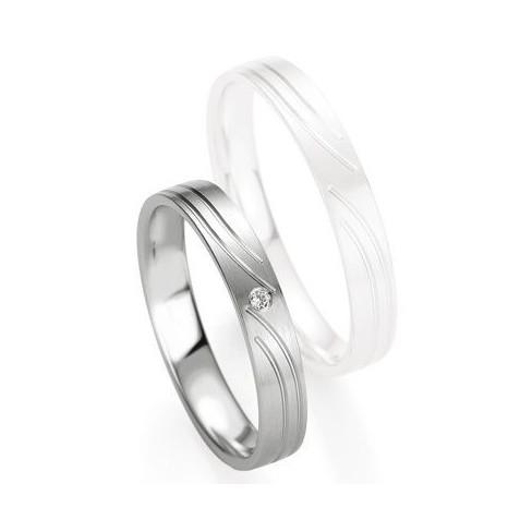 Alliance de mariage Breuning - Or gris 3.5mm diamant - 1377407935G