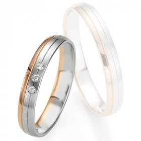 Alliance de mariage Breuning - Or gris/or rose 3.5mm diamant - 1377409135B